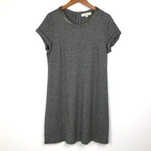 Ann Taylor LOFT Gray Embellished Dress Large